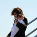 Republican vice-presidential candidate Sarah Palin carries her son Trig as she deplanes at Lambert Field airport in St Louis, Missouri on October 02, 2008.