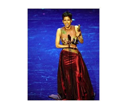 Halle Berry accepts her Best Actress Oscar, 2002