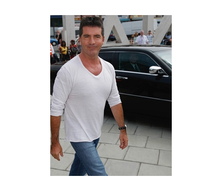 Simon in white V-neck T-shirt