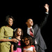 Presidential hopeful Senator Barack Obama, wife Michelle and their daughters 9-year-old Malia and 6-year-old Sasha are pictured at an Iowa rally.