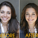 Before: Initially, her brows are full and look good. After: Lengthening the brows the right amount makes her eyes look even bigger. Click to see brows up close