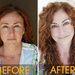Before: Red hair? Don't worry. After: Use a brownish/red powder to fill in any holes. Click to see brows up close