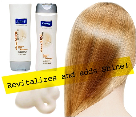 Suave Vibrant Shine Shampoo and Conditioner Suave's Vibrant Shine Shampoo restores shine, removes build-up, and smells really yummy. It moisturizes too — so you can get those shimmering strands back. We've tried Sebastian® Laminates® Shampoo and Conditioner ... and this one's just as good! Oh, and it's only $3.50!  www.suave.com For more beauty buys click the NEXT button.