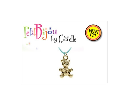 "Enter here to win an adorable Teddy Bear Necklace from Garcelle Beavais' new jewelry line ""Petit Bijou by Garcelle"""