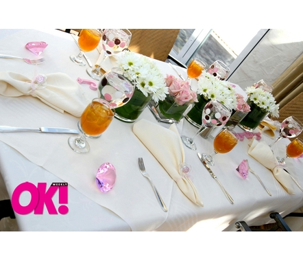 The beautiful table settings included Trista's favorite flower ... daisies! The goblets were hand-painted by Janet Herbert with pink and brown polka dots.