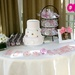 "The cake table featured candy jars full of pink and white M&M's. Each M&M had an ""S"" logo that was also on the invites and on the cookies."