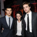 Actors Taylor Lautner, Kristen Stewart and Robert Pattinson arrive at the afterparty for the premiere of Summit Entertainment's 'The Twilight Saga: New Moon' at the Hammer Museum on November 16, 2009 in Los Angeles, California.
